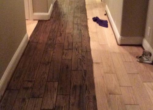 sanded stained hardwood flooring